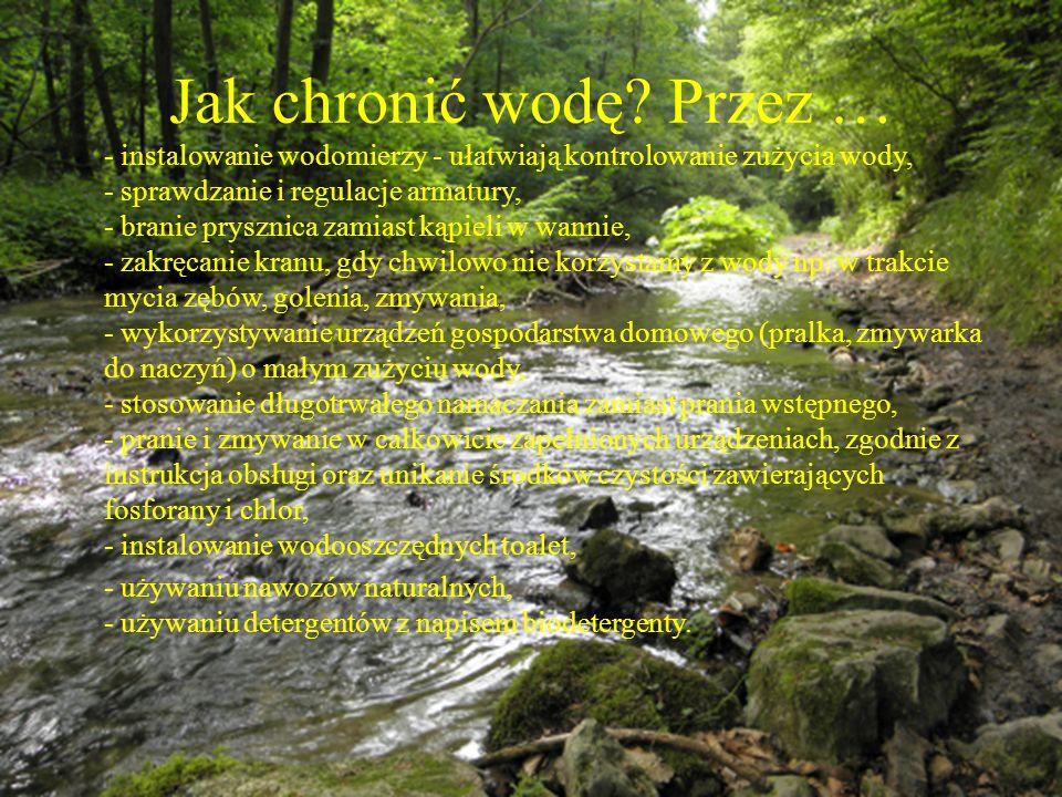 Jak chronić wodę? Przez … - instalowanie wodomierzy - ułatwiają kontrolowanie zużycia wody, - sprawdzanie i regulacje armatury, - branie prysznica zam
