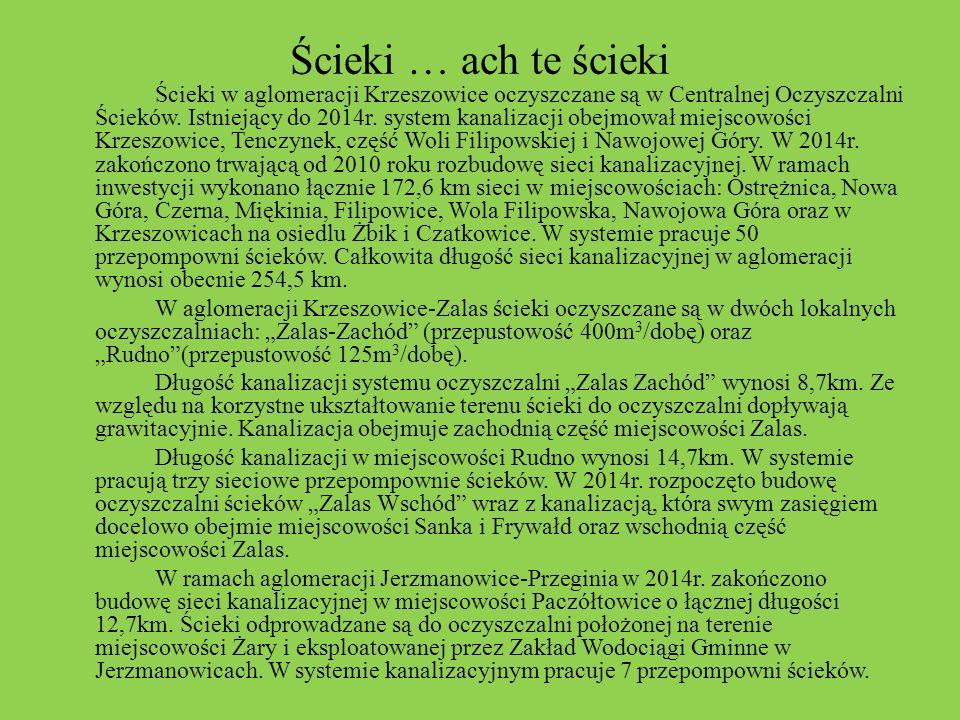 Ścieki … ach te ścieki Ścieki w aglomeracji Krzeszowice oczyszczane są w Centralnej Oczyszczalni Ścieków. Istniejący do 2014r. system kanalizacji obej