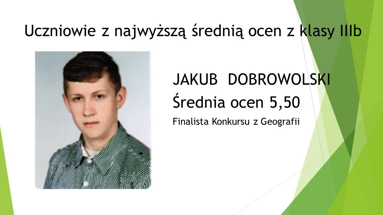 Uczniowie z najwyższą średnią ocen z klasy IIIb JAKUB DOBROWOLSKI Średnia ocen 5,50 Finalista Konkursu z Geografii