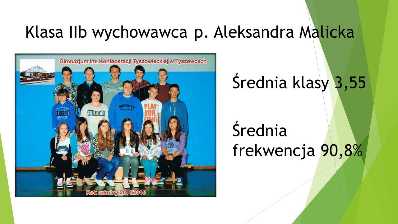 Klasa IIb wychowawca p. Aleksandra Malicka Średnia klasy 3,55 Średnia frekwencja 90,8%