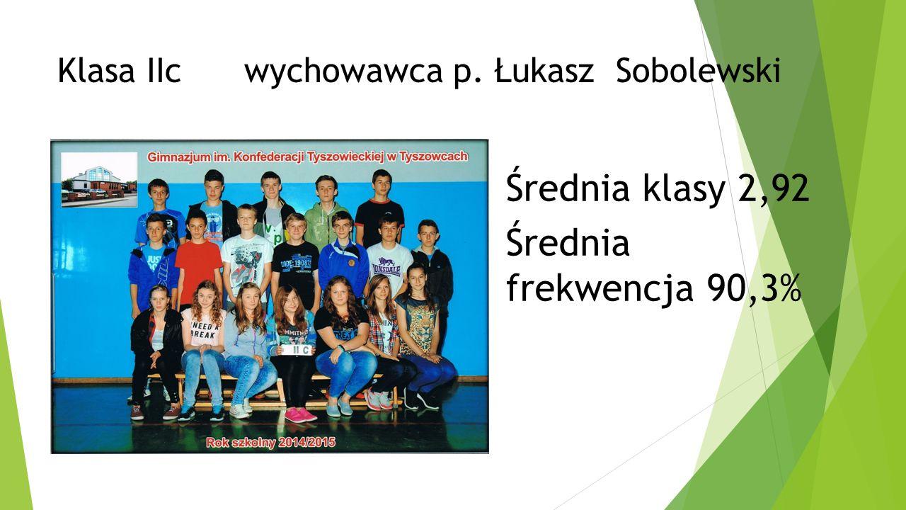 Klasa IIc wychowawca p. Łukasz Sobolewski Średnia klasy 2,92 Średnia frekwencja 90,3%