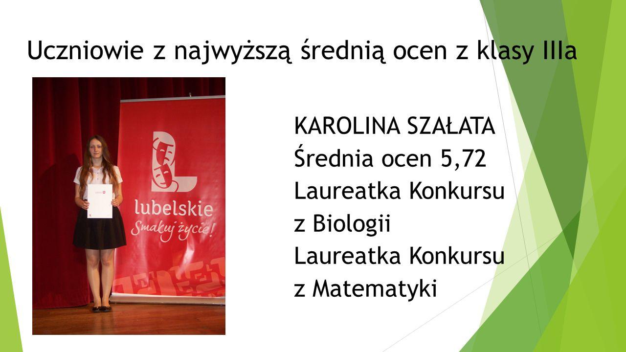 Klasa IIa wychowawca p. Janusz Zarębski Średnia klasy 3,60 Średnia frekwencja 89,5%