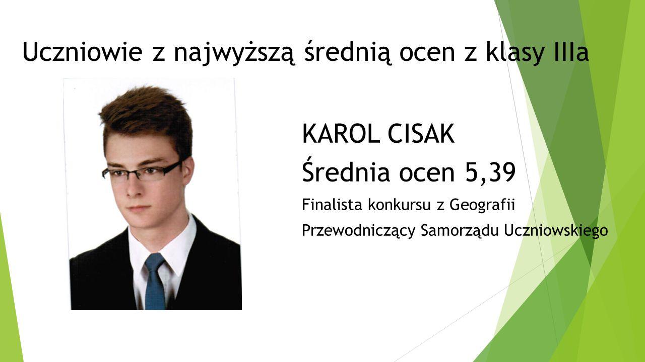 Uczniowie z najwyższą średnią ocen z klasy IIa KAROLINA JACHIMEK Średnia ocen 5,00