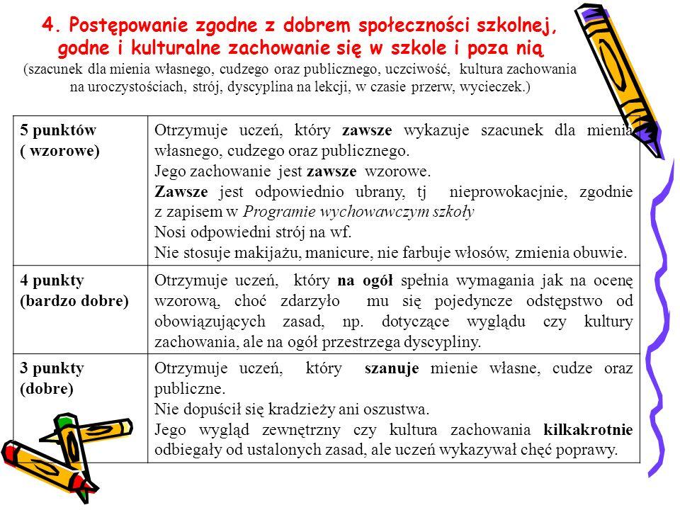 4. Postępowanie zgodne z dobrem społeczności szkolnej, godne i kulturalne zachowanie się w szkole i poza nią (szacunek dla mienia własnego, cudzego or