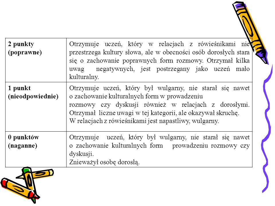 2 punkty (poprawne) Otrzymuje uczeń, który w relacjach z rówieśnikami nie przestrzega kultury słowa, ale w obecności osób dorosłych stara się o zachowanie poprawnych form rozmowy.