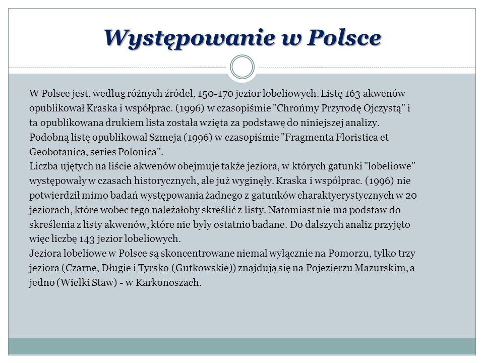 Występowanie w Polsce W Polsce jest, według różnych źródeł, 150-170 jezior lobeliowych. Listę 163 akwenów opublikował Kraska i współprac. (1996) w cza