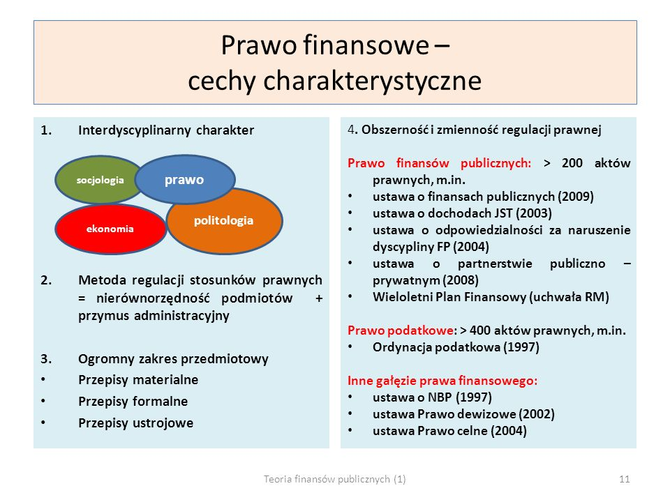 Prawo finansowe – cechy charakterystyczne 1.Interdyscyplinarny charakter 2.Metoda regulacji stosunków prawnych = nierównorzędność podmiotów + przymus