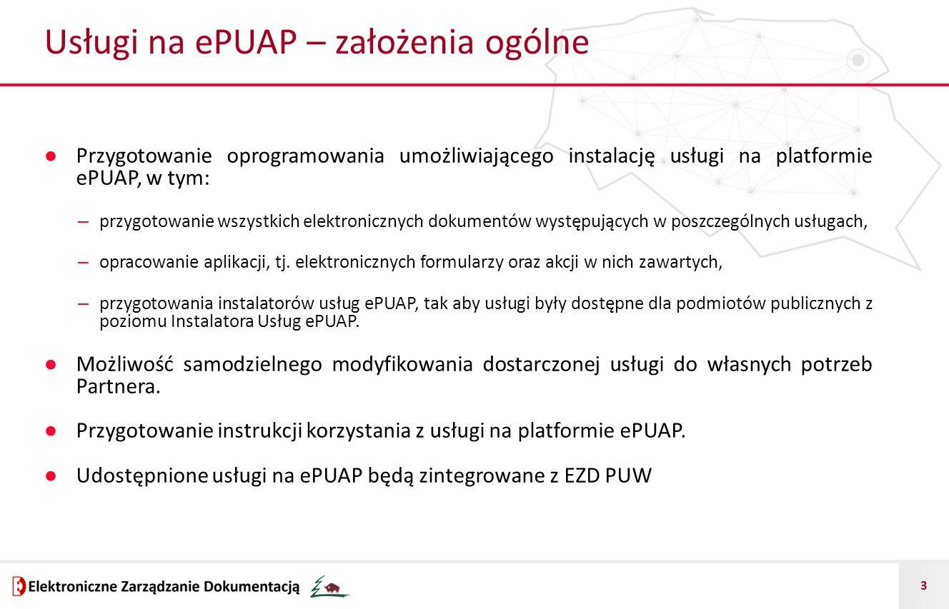 3 Usługi na ePUAP – założenia ogólne ● Przygotowanie oprogramowania umożliwiającego instalację usługi na platformie ePUAP, w tym: – przygotowanie wszystkich elektronicznych dokumentów występujących w poszczególnych usługach, – opracowanie aplikacji, tj.