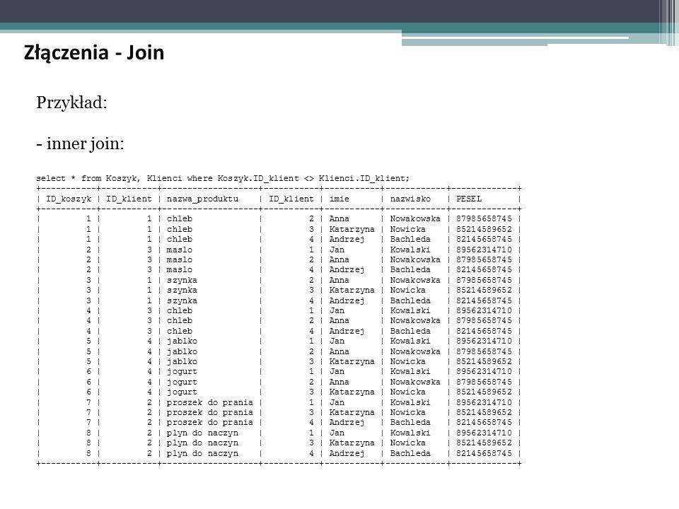 Przykład: - inner join: select * from Koszyk, Klienci where Koszyk.ID_klient <> Klienci.ID_klient; +-----------+-----------+-------------------+-----------+-----------+------------+-------------+ | ID_koszyk | ID_klient | nazwa_produktu | ID_klient | imie | nazwisko | PESEL | +-----------+-----------+-------------------+-----------+-----------+------------+-------------+ | 1 | 1 | chleb | 2 | Anna | Nowakowska | 87985658745 | | 1 | 1 | chleb | 3 | Katarzyna | Nowicka | 85214589652 | | 1 | 1 | chleb | 4 | Andrzej | Bachleda | 82145658745 | | 2 | 3 | maslo | 1 | Jan | Kowalski | 89562314710 | | 2 | 3 | maslo | 2 | Anna | Nowakowska | 87985658745 | | 2 | 3 | maslo | 4 | Andrzej | Bachleda | 82145658745 | | 3 | 1 | szynka | 2 | Anna | Nowakowska | 87985658745 | | 3 | 1 | szynka | 3 | Katarzyna | Nowicka | 85214589652 | | 3 | 1 | szynka | 4 | Andrzej | Bachleda | 82145658745 | | 4 | 3 | chleb | 1 | Jan | Kowalski | 89562314710 | | 4 | 3 | chleb | 2 | Anna | Nowakowska | 87985658745 | | 4 | 3 | chleb | 4 | Andrzej | Bachleda | 82145658745 | | 5 | 4 | jablko | 1 | Jan | Kowalski | 89562314710 | | 5 | 4 | jablko | 2 | Anna | Nowakowska | 87985658745 | | 5 | 4 | jablko | 3 | Katarzyna | Nowicka | 85214589652 | | 6 | 4 | jogurt | 1 | Jan | Kowalski | 89562314710 | | 6 | 4 | jogurt | 2 | Anna | Nowakowska | 87985658745 | | 6 | 4 | jogurt | 3 | Katarzyna | Nowicka | 85214589652 | | 7 | 2 | proszek do prania | 1 | Jan | Kowalski | 89562314710 | | 7 | 2 | proszek do prania | 3 | Katarzyna | Nowicka | 85214589652 | | 7 | 2 | proszek do prania | 4 | Andrzej | Bachleda | 82145658745 | | 8 | 2 | plyn do naczyn | 1 | Jan | Kowalski | 89562314710 | | 8 | 2 | plyn do naczyn | 3 | Katarzyna | Nowicka | 85214589652 | | 8 | 2 | plyn do naczyn | 4 | Andrzej | Bachleda | 82145658745 | +-----------+-----------+-------------------+-----------+-----------+------------+-------------+ Złączenia - Join