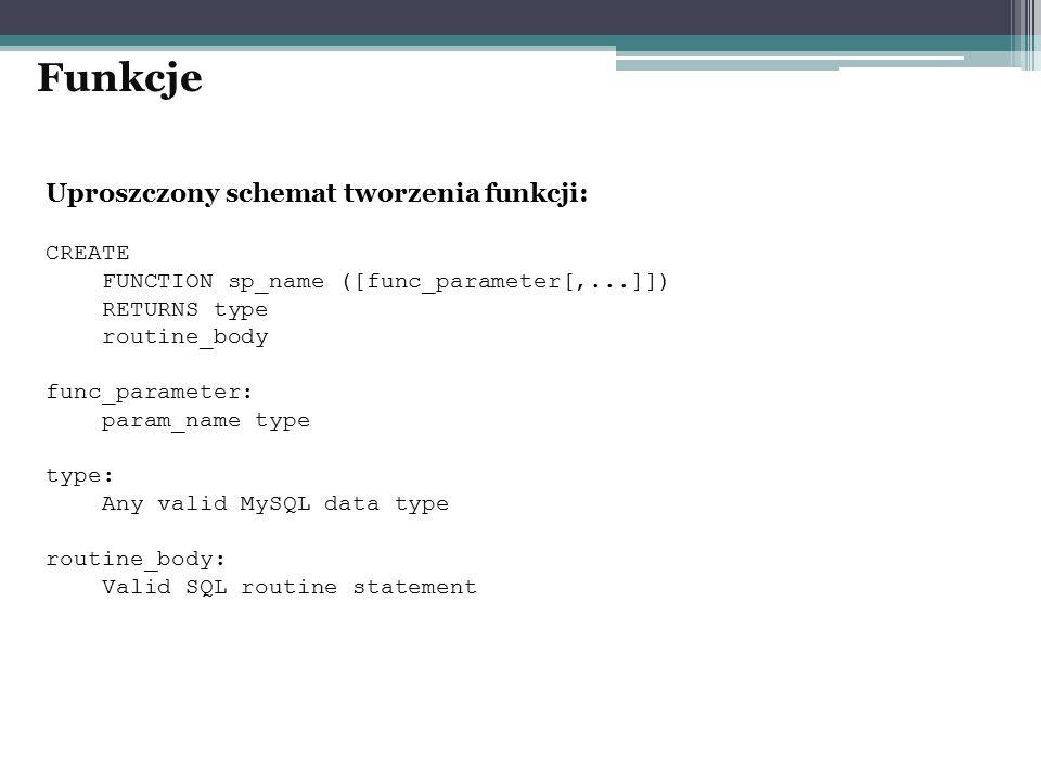 Uproszczony schemat tworzenia funkcji: CREATE FUNCTION sp_name ([func_parameter[,...]]) RETURNS type routine_body func_parameter: param_name type type