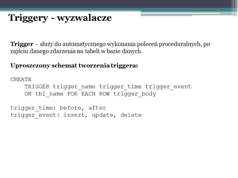 Trigger – służy do automatycznego wykonania poleceń proceduralnych, po zajściu danego zdarzenia na tabeli w bazie danych. Uproszczony schemat tworzeni