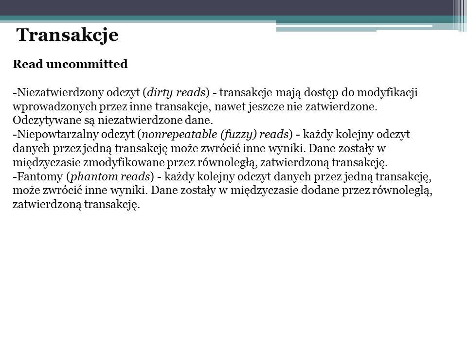 Read uncommitted -Niezatwierdzony odczyt (dirty reads) - transakcje mają dostęp do modyfikacji wprowadzonych przez inne transakcje, nawet jeszcze nie zatwierdzone.