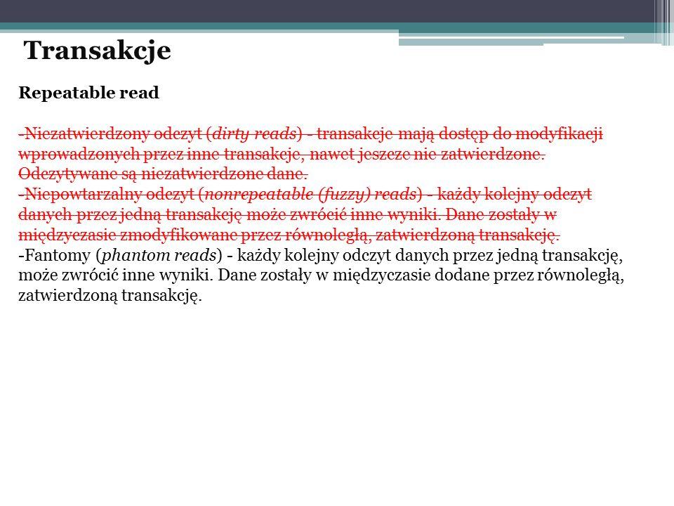Repeatable read -Niezatwierdzony odczyt (dirty reads) - transakcje mają dostęp do modyfikacji wprowadzonych przez inne transakcje, nawet jeszcze nie z