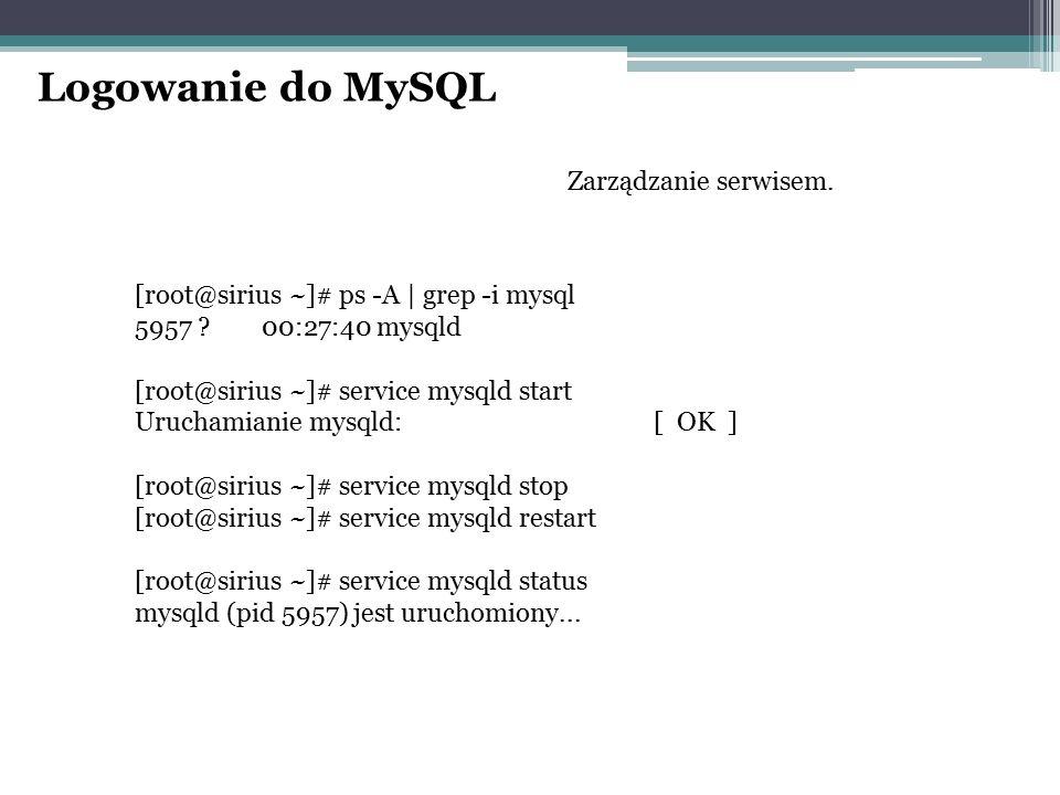 Logowanie do MySQL Zarządzanie serwisem. [root@sirius ~]# ps -A | grep -i mysql 5957 ? 00:27:40 mysqld [root@sirius ~]# service mysqld start Uruchamia