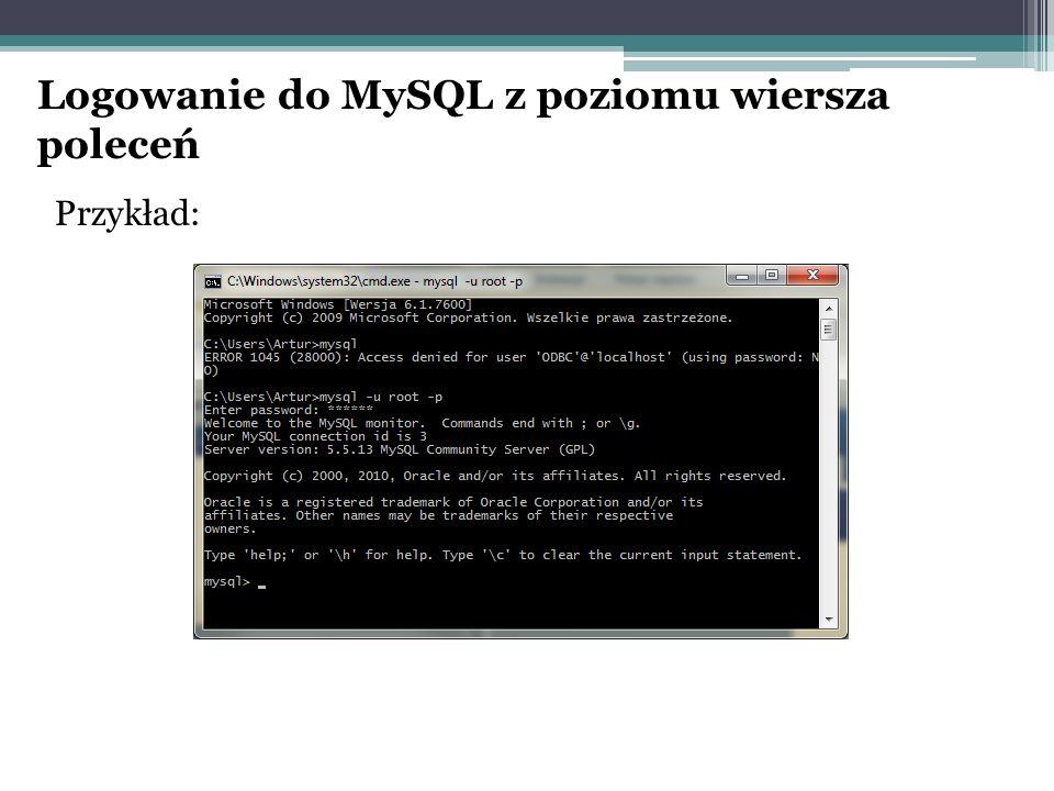 Logowanie do MySQL z poziomu wiersza poleceń Przykład: