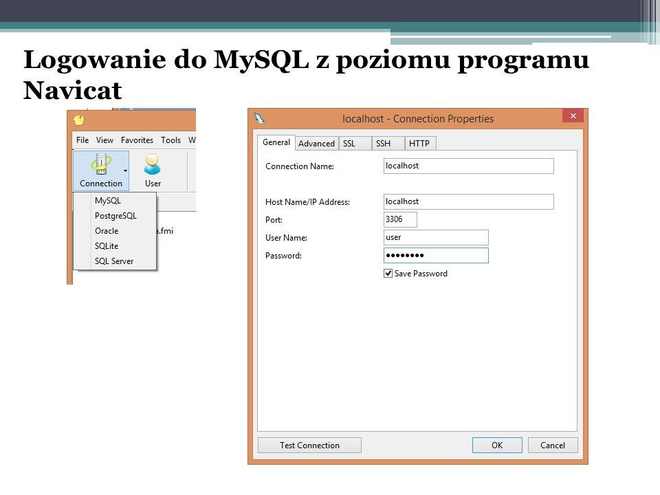 Logowanie do MySQL z poziomu programu Navicat