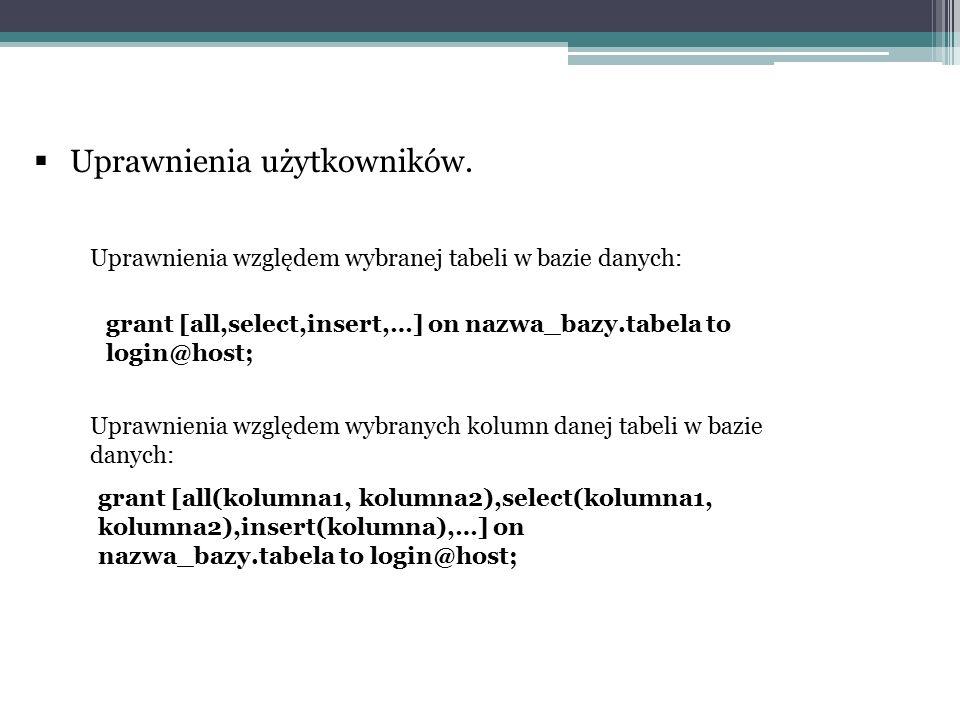  Uprawnienia użytkowników. grant [all,select,insert,…] on nazwa_bazy.tabela to login@host; grant [all(kolumna1, kolumna2),select(kolumna1, kolumna2),
