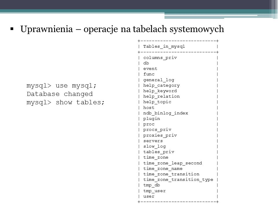  Uprawnienia – operacje na tabelach systemowych +---------------------------+ | Tables_in_mysql | +---------------------------+ | columns_priv | | db