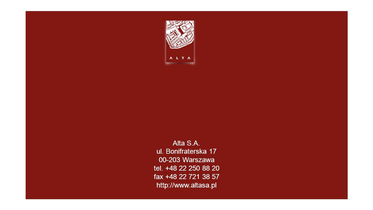 Alta S.A. ul. Bonifraterska 17 00-203 Warszawa tel.