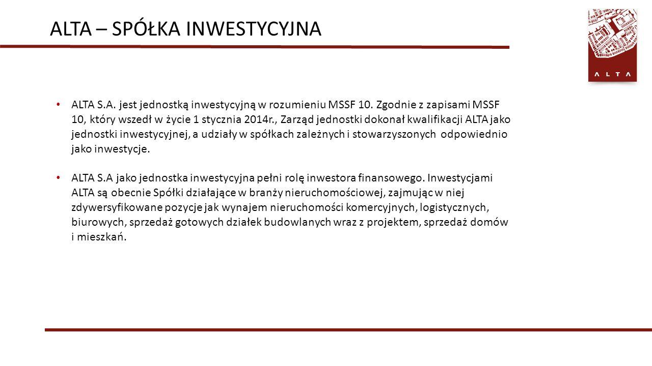 ALTA – SPÓŁKA INWESTYCYJNA ALTA S.A. jest jednostką inwestycyjną w rozumieniu MSSF 10.