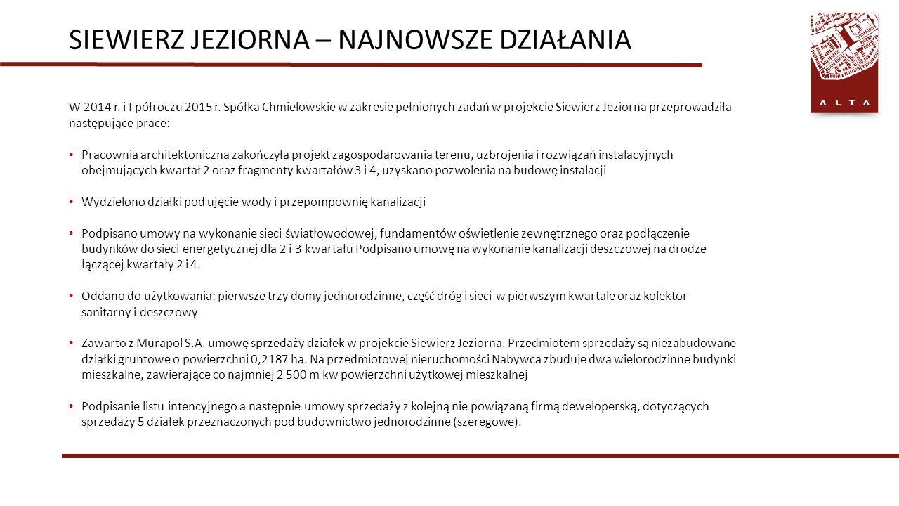 SIEWIERZ JEZIORNA – NAJNOWSZE DZIAŁANIA W 2014 r. i I półroczu 2015 r.