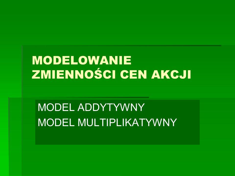 Modele zmienności z czasem dyskretnym / Modele zmienności aktywów z czasem dyskretnym / Model addytywny Przyjmijmy następujące oznaczenia: S(0) - cena początkowa akcji S(k) - cena akcji w k-tym momencie (etapie).