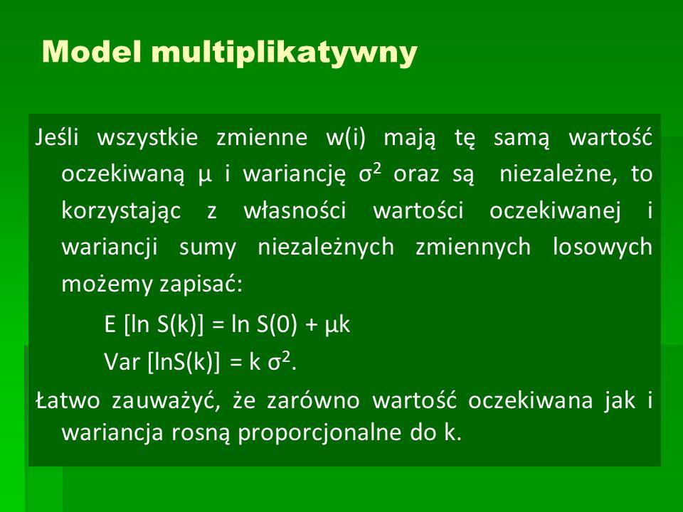 Model multiplikatywny Jeśli wszystkie zmienne w(i) mają tę samą wartość oczekiwaną μ i wariancję σ 2 oraz są niezależne, to korzystając z własności wa