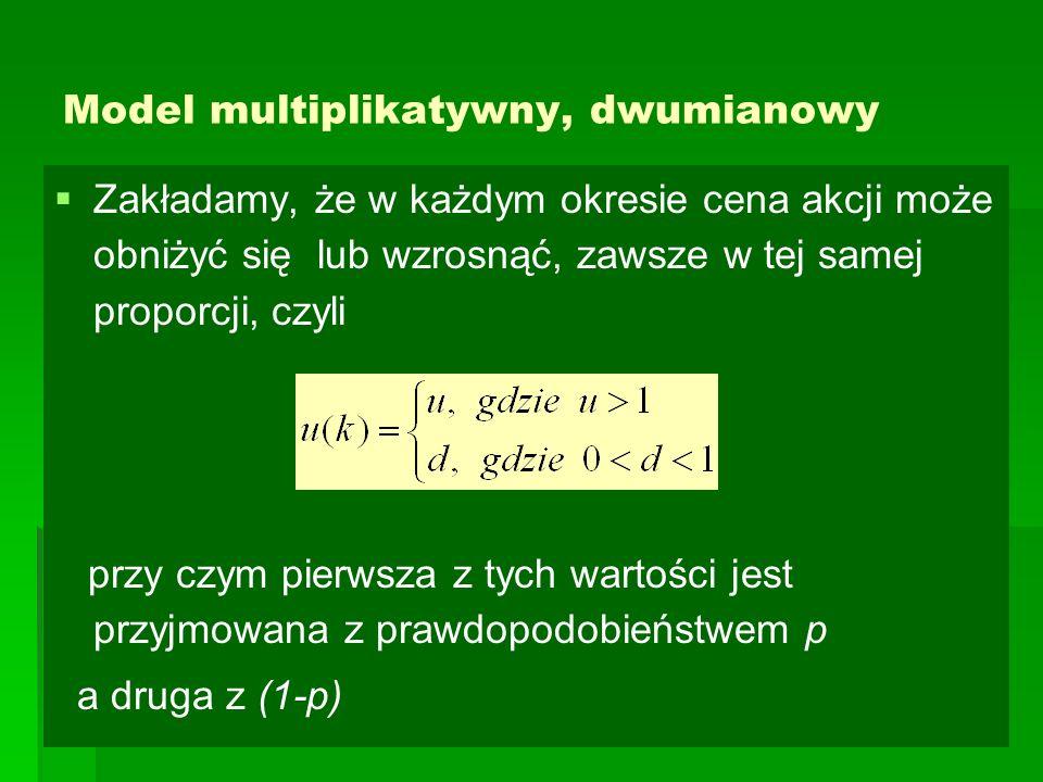 Model multiplikatywny, dwumianowy   Zakładamy, że w każdym okresie cena akcji może obniżyć się lub wzrosnąć, zawsze w tej samej proporcji, czyli prz