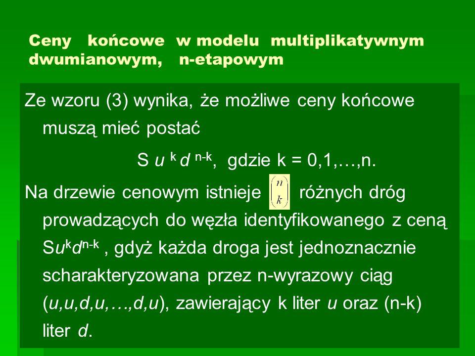 Ceny końcowe w modelu multiplikatywnym dwumianowym, n-etapowym Ze wzoru (3) wynika, że możliwe ceny końcowe muszą mieć postać S u k d n-k, gdzie k = 0