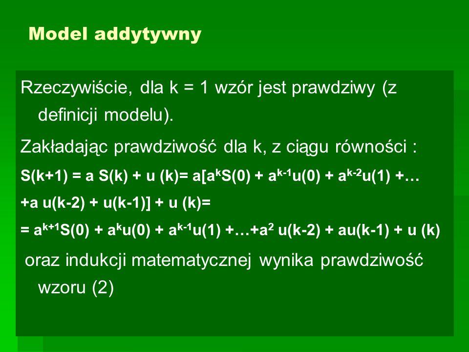 Model multiplikatywny Jeśli wszystkie zmienne w(i) mają tę samą wartość oczekiwaną μ i wariancję σ 2 oraz są niezależne, to korzystając z własności wartości oczekiwanej i wariancji sumy niezależnych zmiennych losowych możemy zapisać: E [ln S(k)] = ln S(0) + μk Var [lnS(k)] = k σ 2.