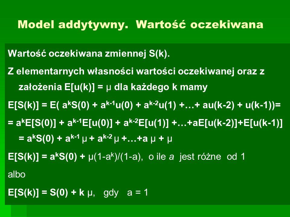 Model addytywny. Wartość oczekiwana Wartość oczekiwana zmiennej S(k). Z elementarnych własności wartości oczekiwanej oraz z założenia E[u(k)] = μ dla
