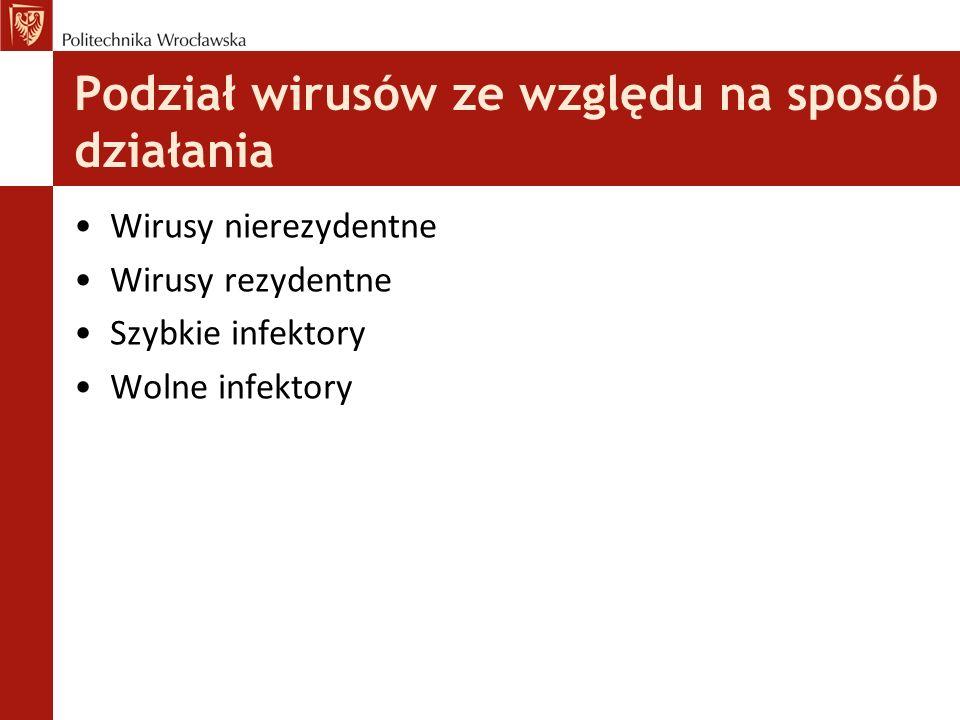 Wirusy nierezydentne Wirusy nierezydentne są najprostszą odmianą wirusów komputerowych zarażających pliki wykonywalne.