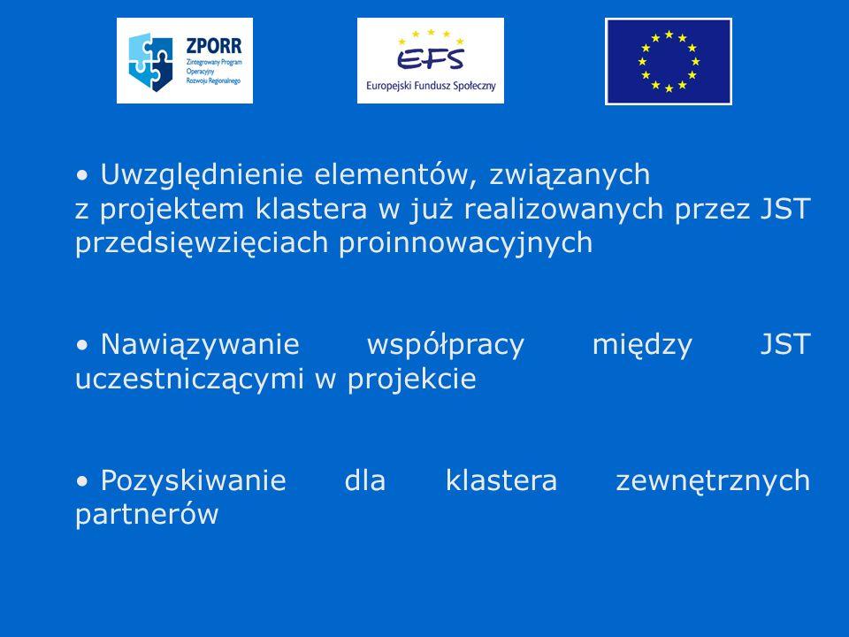 Uwzględnienie elementów, związanych z projektem klastera w już realizowanych przez JST przedsięwzięciach proinnowacyjnych Nawiązywanie współpracy między JST uczestniczącymi w projekcie Pozyskiwanie dla klastera zewnętrznych partnerów