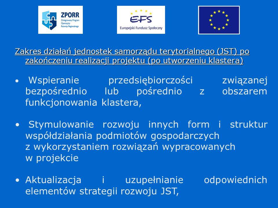 Zakres działań jednostek samorządu terytorialnego (JST) po zakończeniu realizacji projektu (po utworzeniu klastera) Wspieranie przedsiębiorczości związanej bezpośrednio lub pośrednio z obszarem funkcjonowania klastera, Stymulowanie rozwoju innych form i struktur współdziałania podmiotów gospodarczych z wykorzystaniem rozwiązań wypracowanych w projekcie Aktualizacja i uzupełnianie odpowiednich elementów strategii rozwoju JST,
