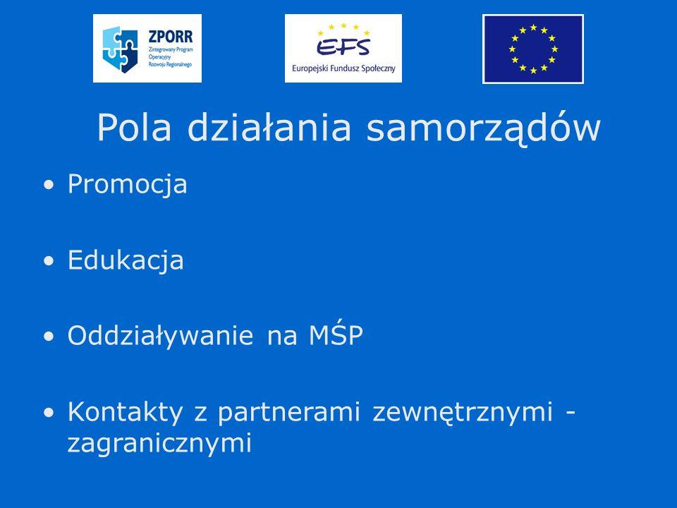 Pola działania samorządów Promocja Edukacja Oddziaływanie na MŚP Kontakty z partnerami zewnętrznymi - zagranicznymi