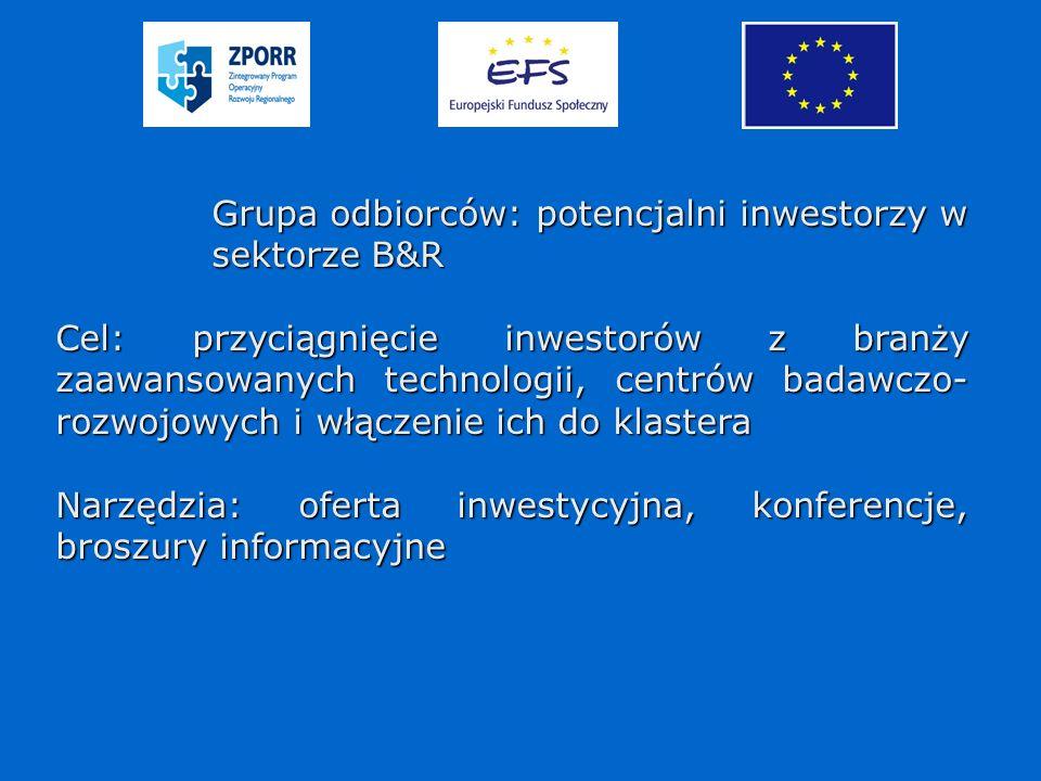 Grupa odbiorców: potencjalni inwestorzy w sektorze B&R Cel: przyciągnięcie inwestorów z branży zaawansowanych technologii, centrów badawczo- rozwojowych i włączenie ich do klastera Narzędzia: oferta inwestycyjna, konferencje, broszury informacyjne