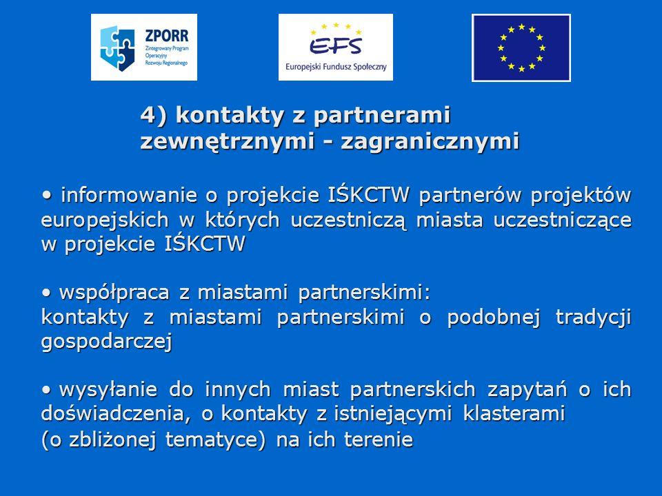 4) kontakty z partnerami zewnętrznymi - zagranicznymi informowanie o projekcie IŚKCTW partnerów projektów europejskich w których uczestniczą miasta uczestniczące w projekcie IŚKCTW informowanie o projekcie IŚKCTW partnerów projektów europejskich w których uczestniczą miasta uczestniczące w projekcie IŚKCTW współpraca z miastami partnerskimi: współpraca z miastami partnerskimi: kontakty z miastami partnerskimi o podobnej tradycji gospodarczej wysyłanie do innych miast partnerskich zapytań o ich doświadczenia, o kontakty z istniejącymi klasterami wysyłanie do innych miast partnerskich zapytań o ich doświadczenia, o kontakty z istniejącymi klasterami (o zbliżonej tematyce) na ich terenie