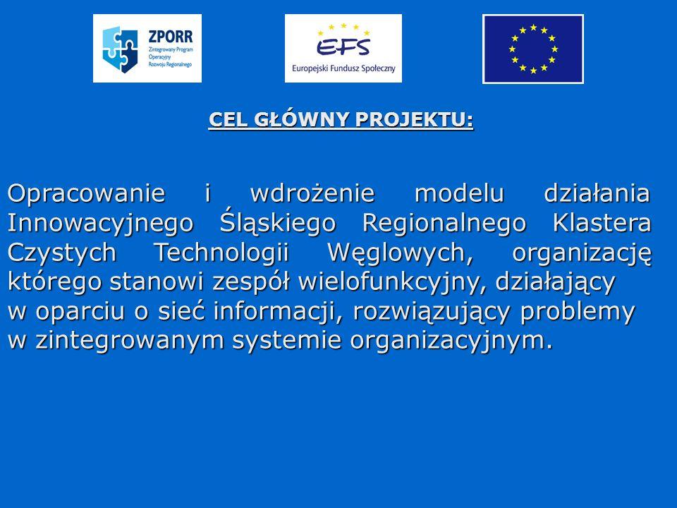 CEL GŁÓWNY PROJEKTU: O pracowanie i wdrożenie modelu działania Innowacyjnego Śląskiego Regionalnego Klastera Czystych Technologii Węglowych, organizację którego stanowi zespół wielofunkcyjny, działający w oparciu o sieć informacji, rozwiązujący problemy w zintegrowanym systemie organizacyjnym.
