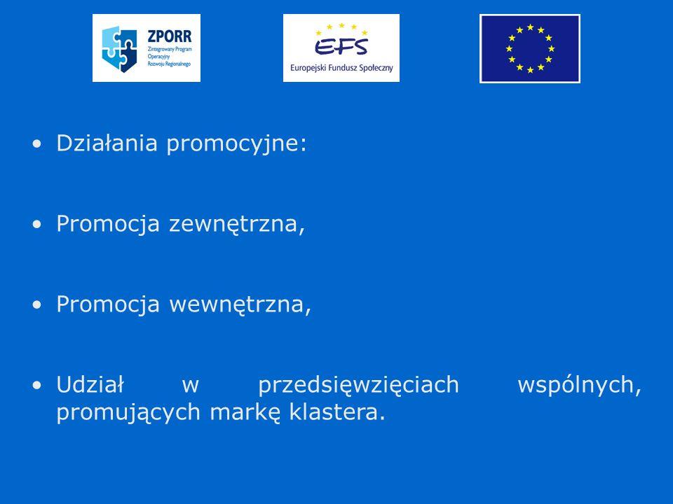 Działania promocyjne: Promocja zewnętrzna, Promocja wewnętrzna, Udział w przedsięwzięciach wspólnych, promujących markę klastera.
