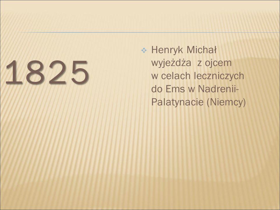 1828- 1830  Podejmuje naukę w warszawskim liceum; wcześniej pobiera nauki u prywatnych nauczycieli m.in.