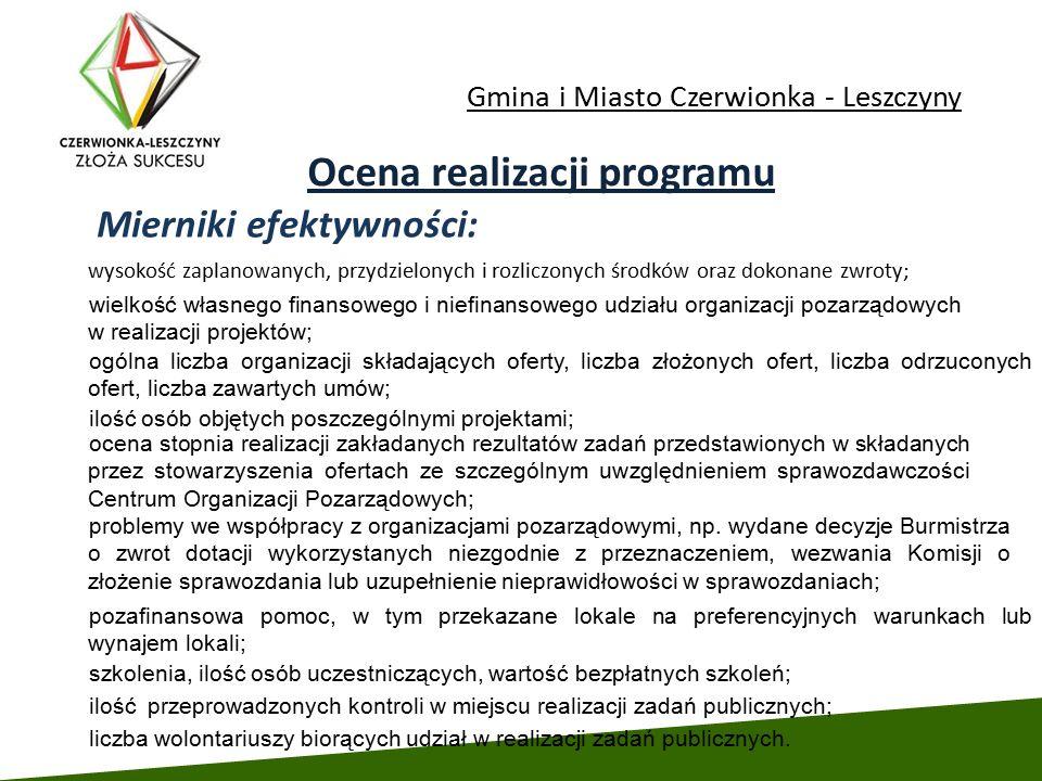 Gmina i Miasto Czerwionka - Leszczyny Ocena realizacji programu Mierniki efektywności: wysokość zaplanowanych, przydzielonych i rozliczonych środków o