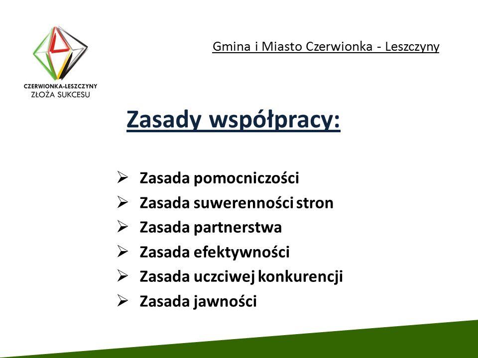 Gmina i Miasto Czerwionka - Leszczyny  Zasada pomocniczości  Zasada suwerenności stron  Zasada partnerstwa  Zasada efektywności  Zasada uczciwej