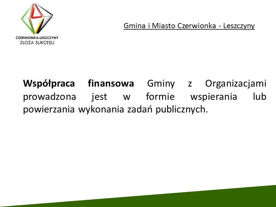 Gmina i Miasto Czerwionka - Leszczyny Współpraca finansowa Gminy z Organizacjami prowadzona jest w formie wspierania lub powierzania wykonania zadań p