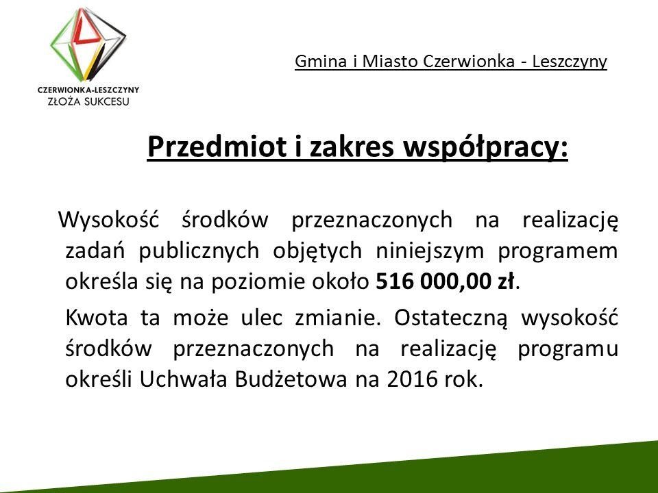 Gmina i Miasto Czerwionka - Leszczyny Wysokość środków przeznaczonych na realizację zadań publicznych objętych niniejszym programem określa się na poz