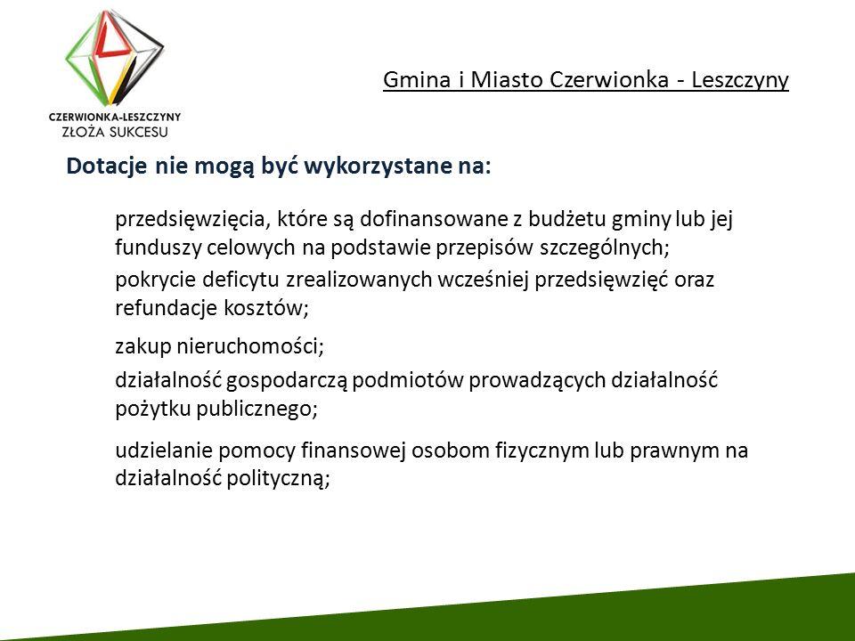 Gmina i Miasto Czerwionka - Leszczyny udzielanie pomocy finansowej osobom fizycznym lub prawnym na działalność polityczną; Dotacje nie mogą być wykorz