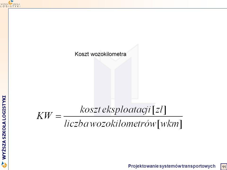 2 WYŻSZA SZKOŁA LOGISTYKI Projektowanie systemów transportowych Koszt wozokilometra 11