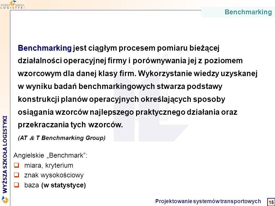 2 WYŻSZA SZKOŁA LOGISTYKI Projektowanie systemów transportowych Benchmarking Benchmarking jest ciągłym procesem pomiaru bieżącej działalności operacyj
