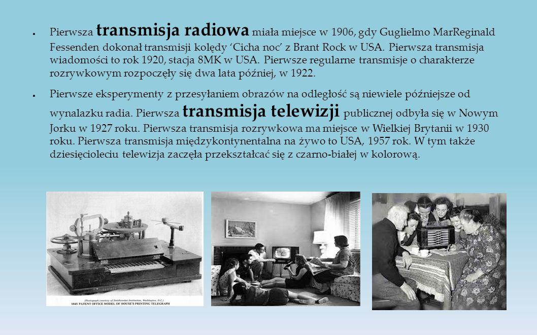 ● Pierwsza transmisja radiowa miała miejsce w 1906, gdy Guglielmo MarReginald Fessenden dokonał transmisji kolędy 'Cicha noc' z Brant Rock w USA.