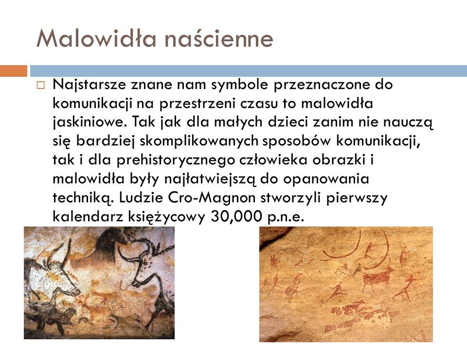 Malowidła naścienne  Najstarsze znane nam symbole przeznaczone do komunikacji na przestrzeni czasu to malowidła jaskiniowe. Tak jak dla małych dzieci