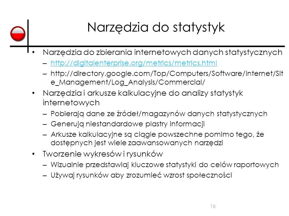 16 Narzędzia do statystyk Narzędzia do zbierania internetowych danych statystycznych – http://digitalenterprise.org/metrics/metrics.html http://digita